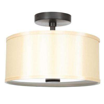 Glenburn 13 in. 2-Light Oil Rubbed Bronze Semi-Flushmount with Golden Fabric Drum Shade