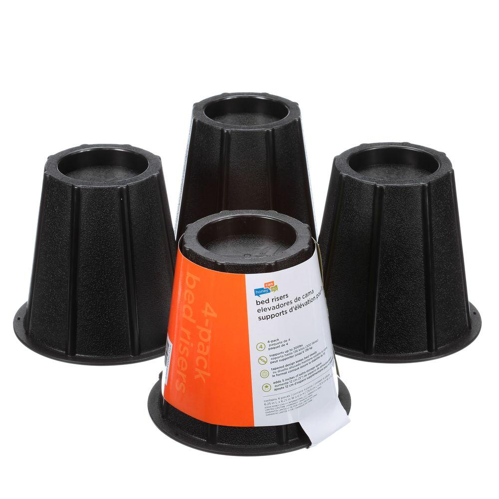 Honey Can Do Black Bed Risers Set Of 4