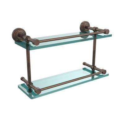 Waverly Place 16 in. L x 8 in. H x 5 in. W 2-Tier Clear Glass Bathroom Shelf with Gallery Rail in Venetian Bronze