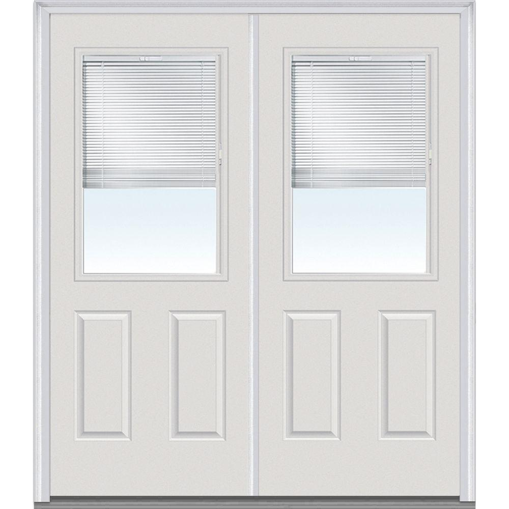 Mmi Door 64 In X 80 Internal Blinds Right Hand Inswing 1 2 Lite Panel Clear Painted Fibergl Smooth Prehung Front