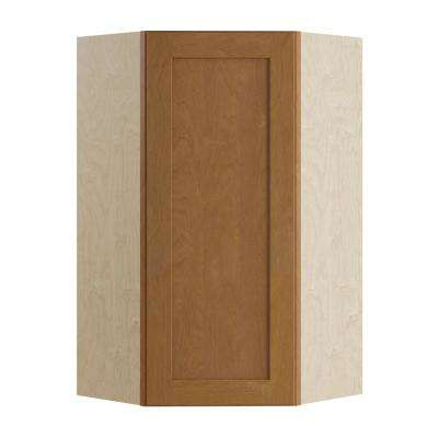 Hargrove Assembled 24x36x12 in. Single Door Hinge Left Wall Kitchen Angle Cabinet in Cinnamon