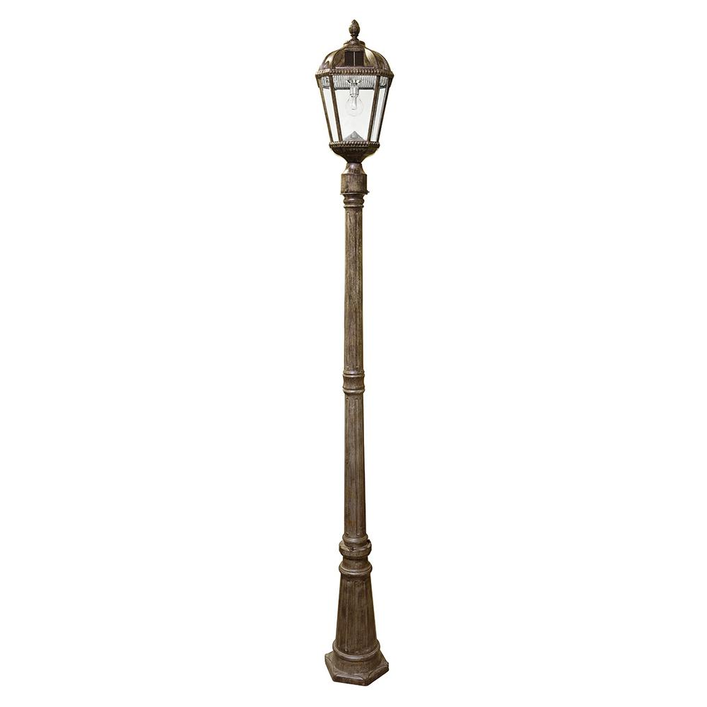 Nature Power Solar Powered Outdoor Led Black Lamp Post With Planter 23107 The Home Depot