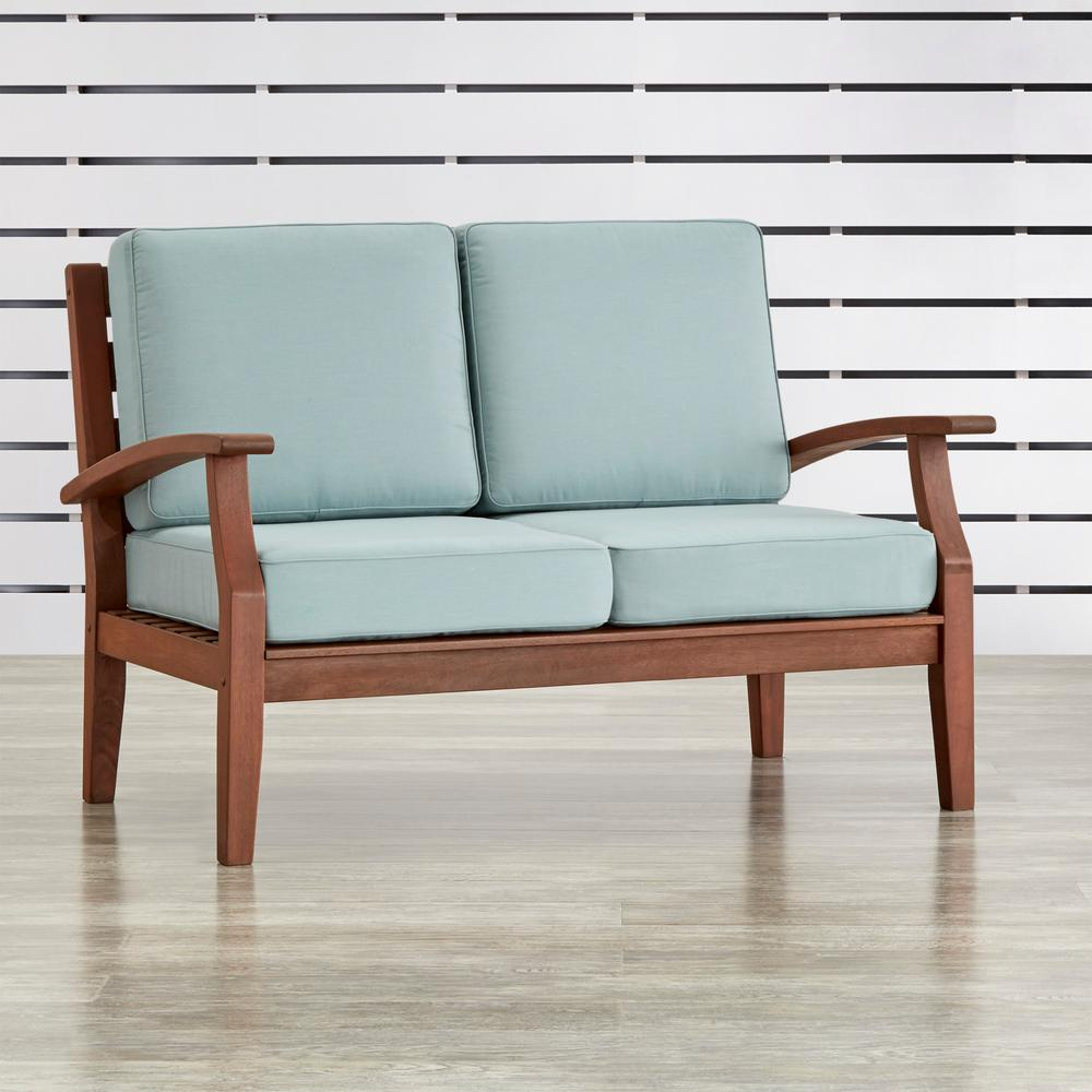 Verdon Gorge Brown Oiled Wood Outdoor Loveseat with Sunbrella Blue Cushions