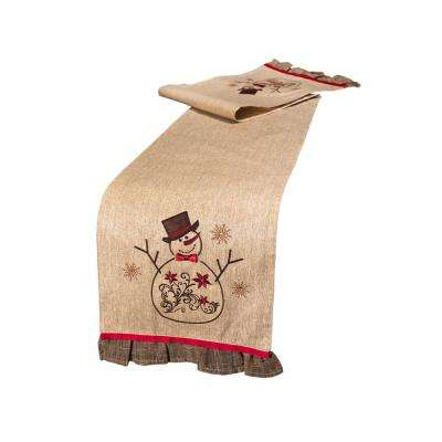 Embroidered Collection 72 in. H x 13 in. W Snowman Table Runner