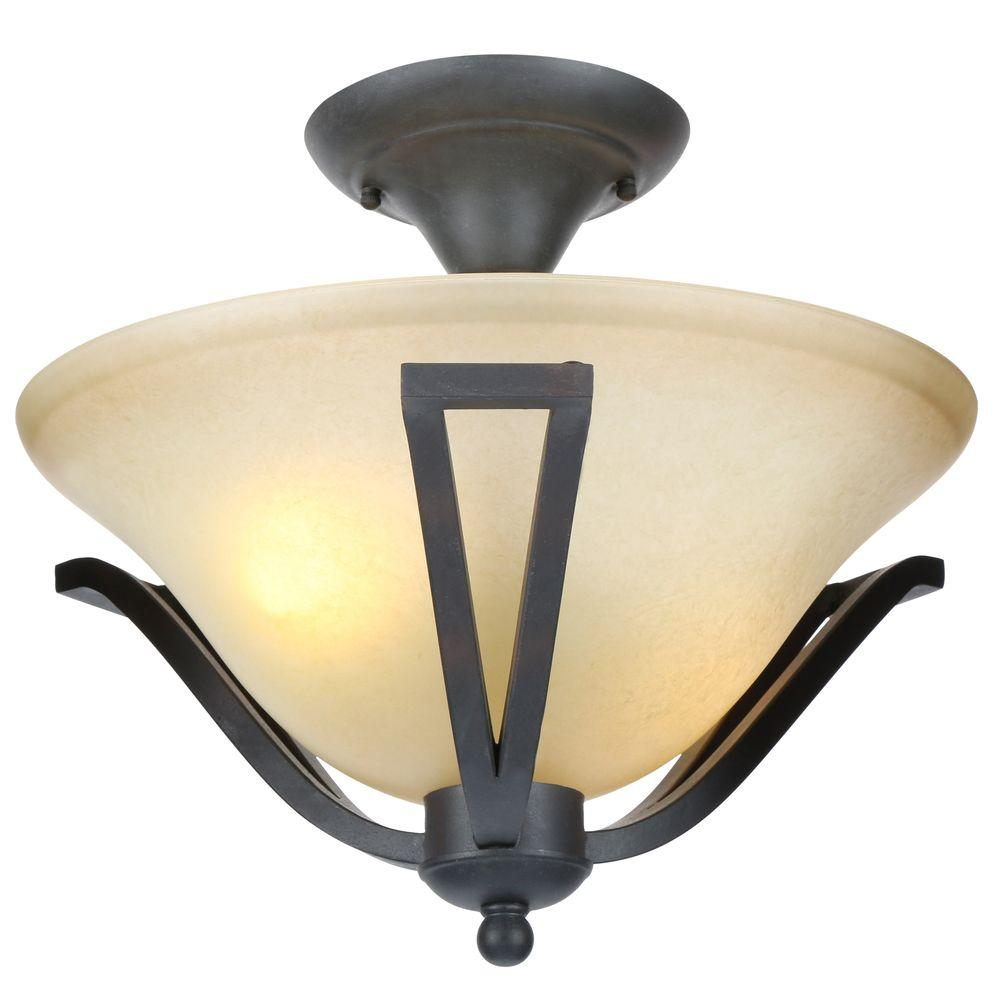 Commercial Electric 13 In 2 Light Rustic Iron Semi Flush Mount With Antique Ivory Gl Shade