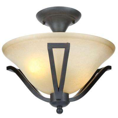 13 in. 2-Light Rustic Iron Semi-Flushmount with Antique Ivory Glass Shade