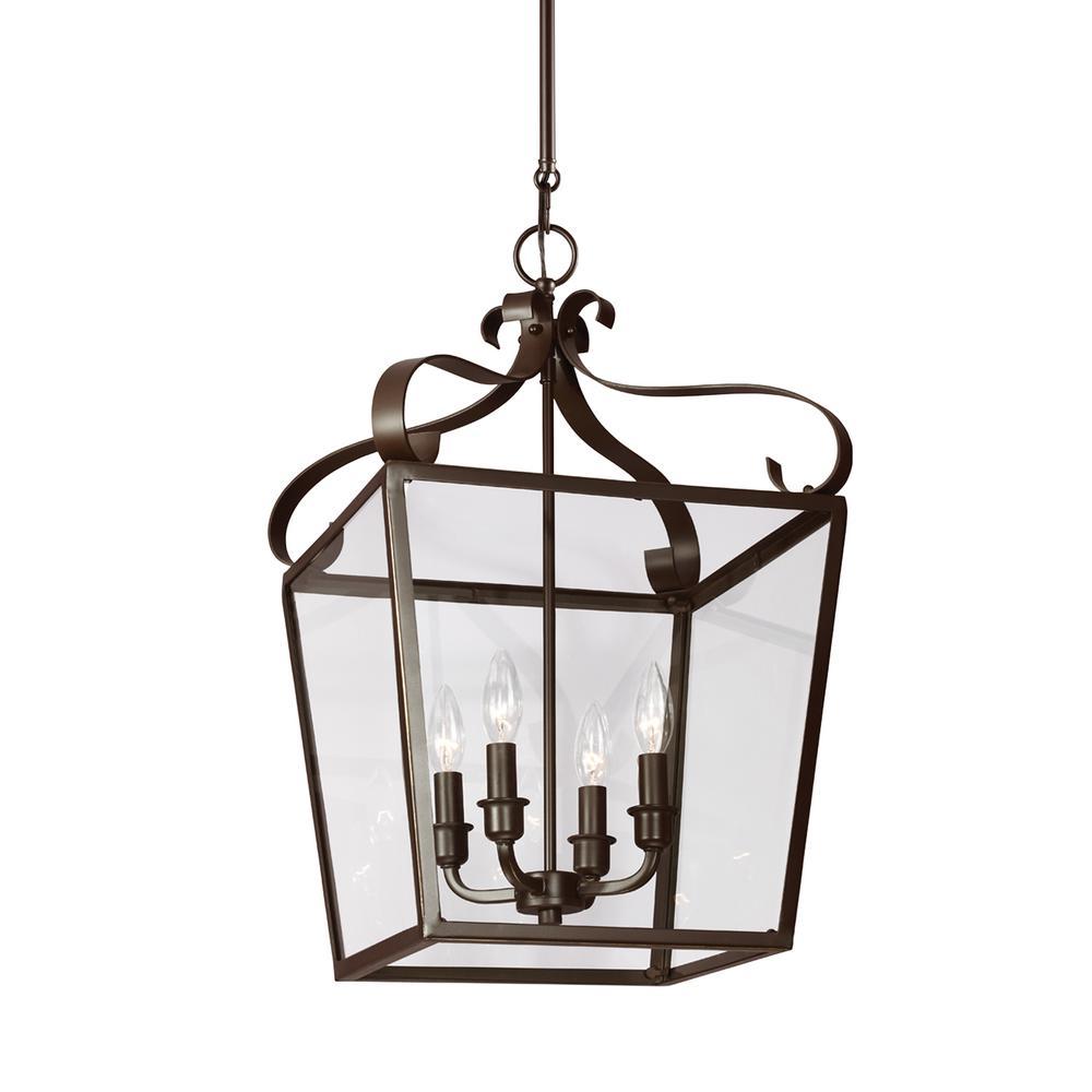 Lockheart 4-Light Heirloom Bronze Hall-Foyer Pendant with Dimmable Candelabra LED Bulb