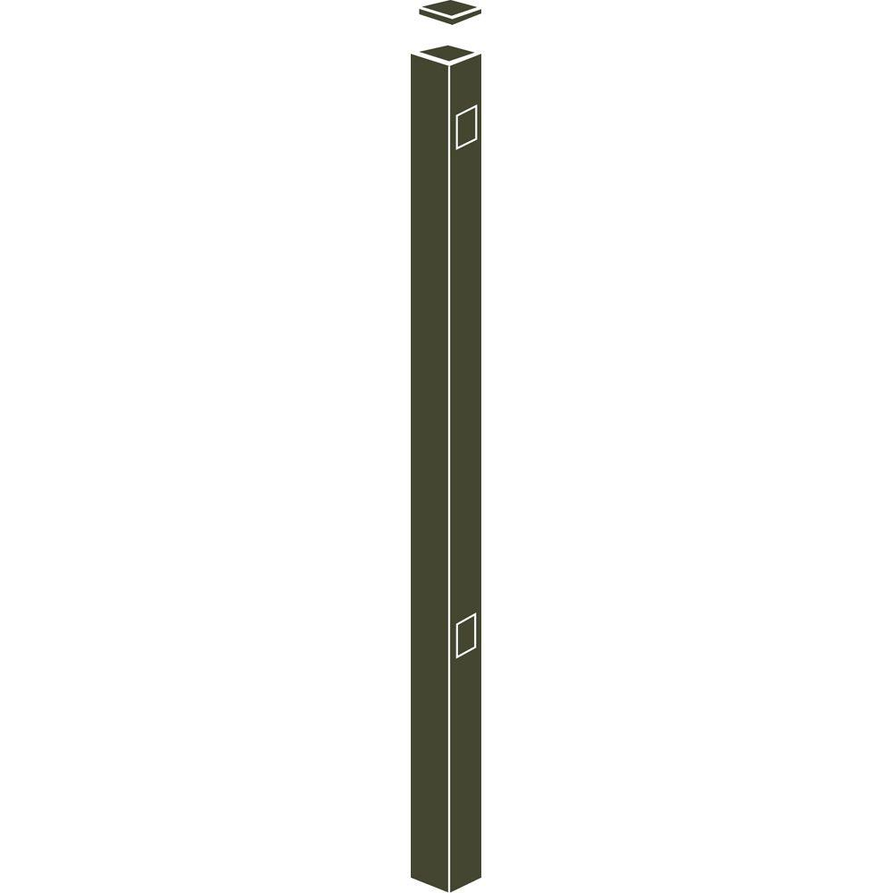 Allure Aluminum 70 in. Aluminum Bronze Fence End/Gate Post Use with 48 in. Fence