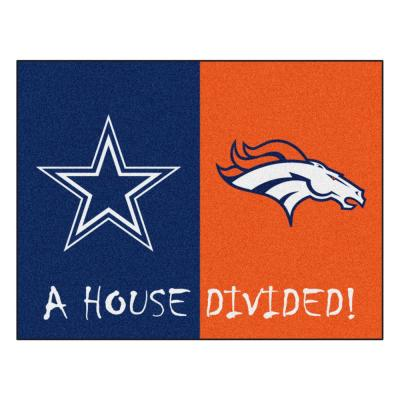 NFL House Divided - Cowboys / Broncos 33.75 in. x 42.5 in. House Divided Mat Area Rug