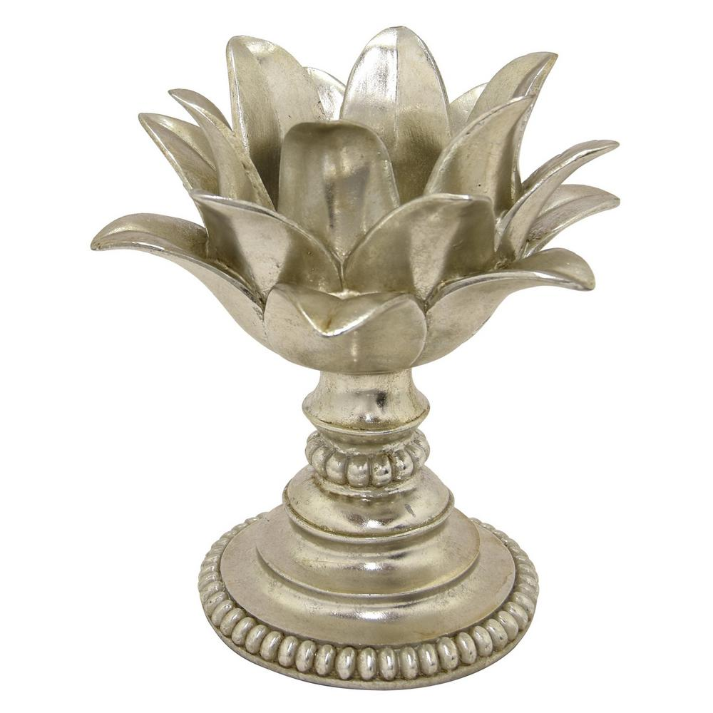 10 in. Decorative Silver Resin Lotus Flower Votive Holder in Silver