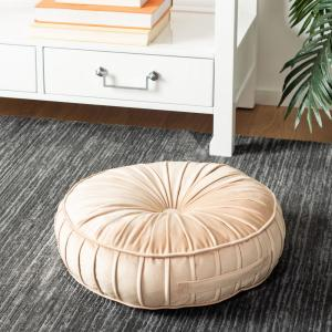 Clary 18 in. x 18 in. Polyfill Champagne Round Floor Pillow