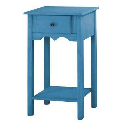 Jay 35.43 in. Tall Blue Wash End Table with 1-Full Extension Drawer