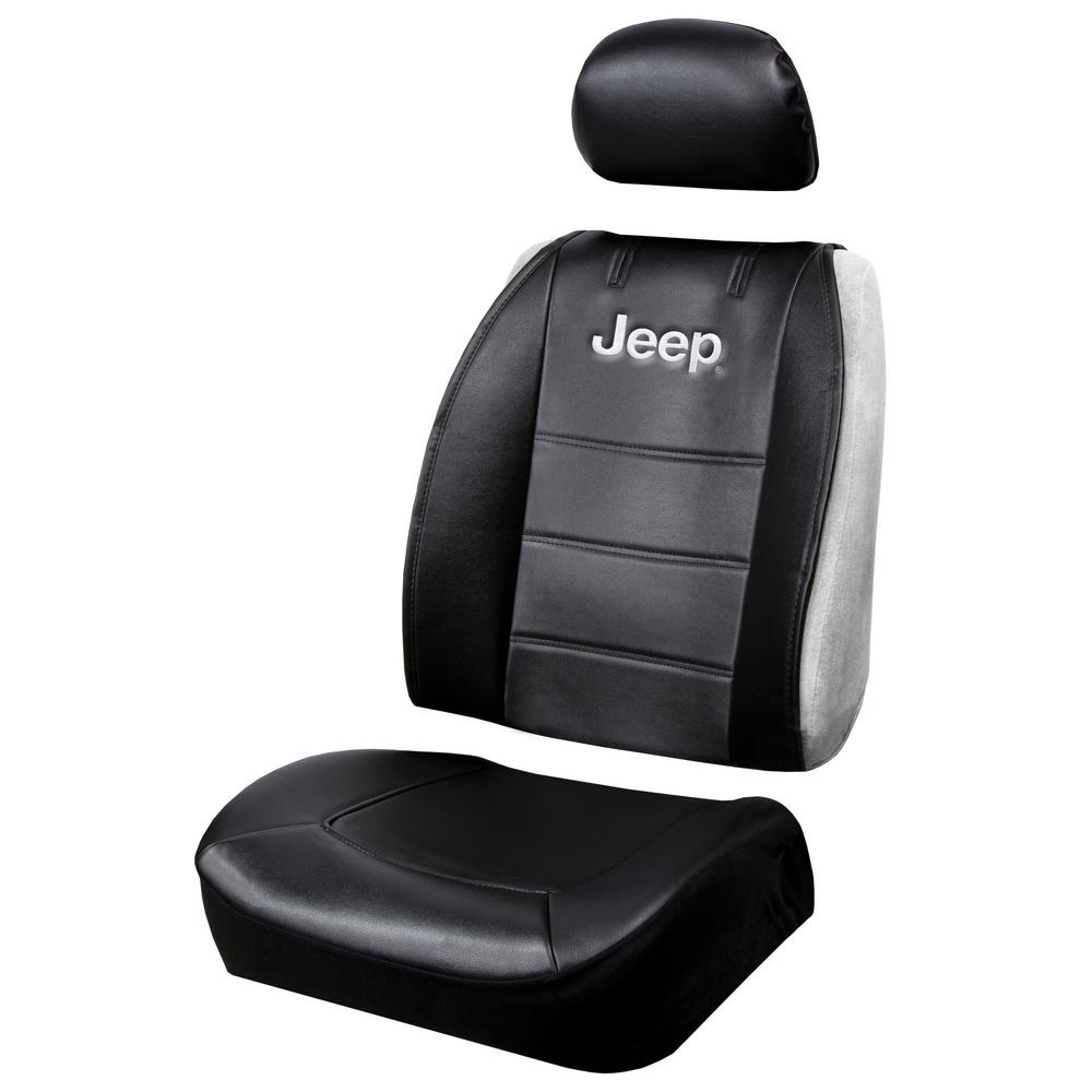 Plasticolor Jeep 26 in. x 22 in. x 0.5 in. Heavy-Duty Sideless 3-Piece Design Seat Cover with Cargo Pocket