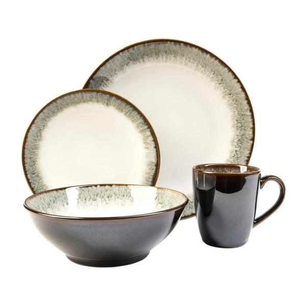 Novelle 16-Piece Casual Moss Porcelain Dinnerware Set (Service for 4)