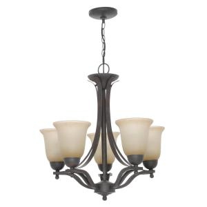 Commercial Electric 5-Light Rustic Iron Chandelier with Antique Ivory Glass Shades by Commercial Electric