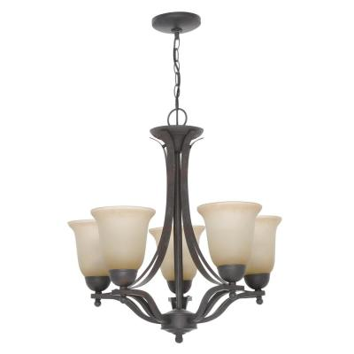 5-Light Rustic Iron Chandelier with Antique Ivory Glass Shades
