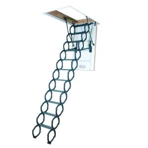 Fakro LST 9 Ft. 6 In., 25 In. X 47 In. Insulated Steel Scissor Attic Ladder  With 300 Lb. Load Capacity Not Rated 66821   The Home Depot