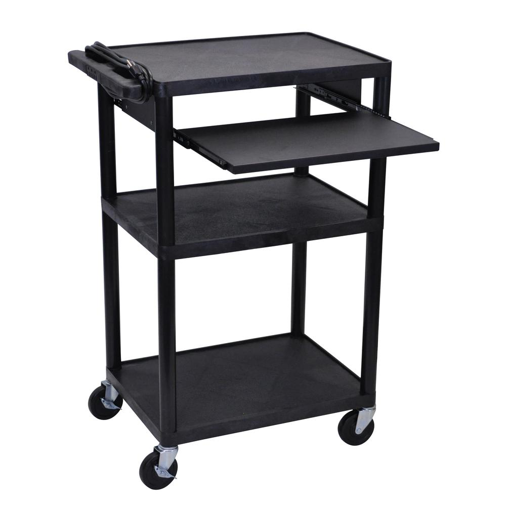 luxor LP 24 in. A/V Cart with Pullout Shelf in Black