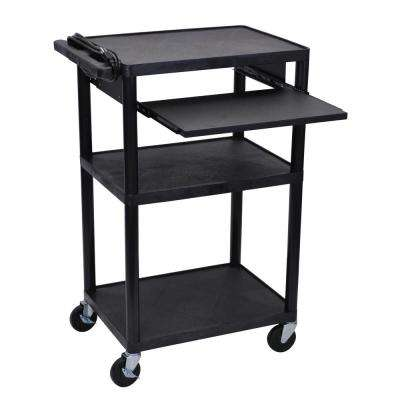 LP 24 in. A/V Cart with Pullout Shelf in Black