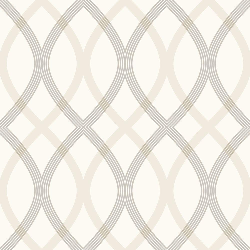 Contour Grey Geometric Lattice Wallpaper