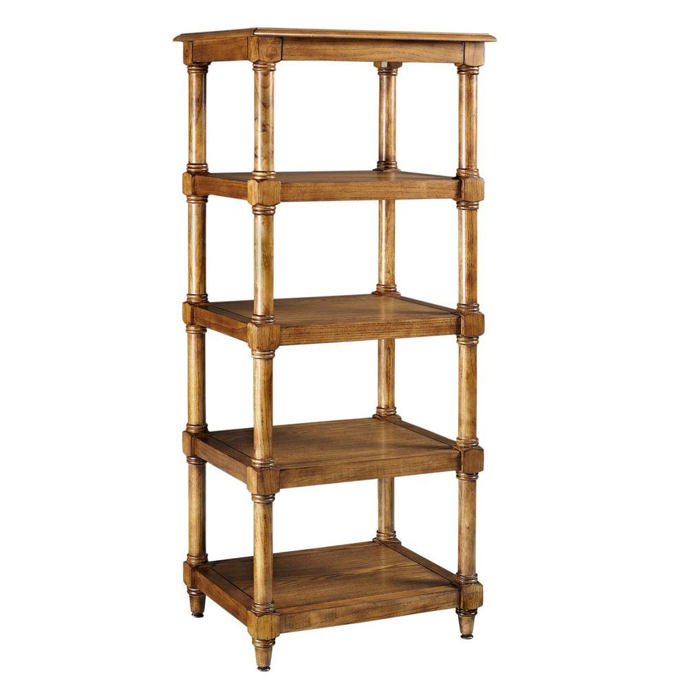 Home Decorators Collection Montaigne 56.5 in. H x 23.5 in. W Linen Tower in Weathered Oak