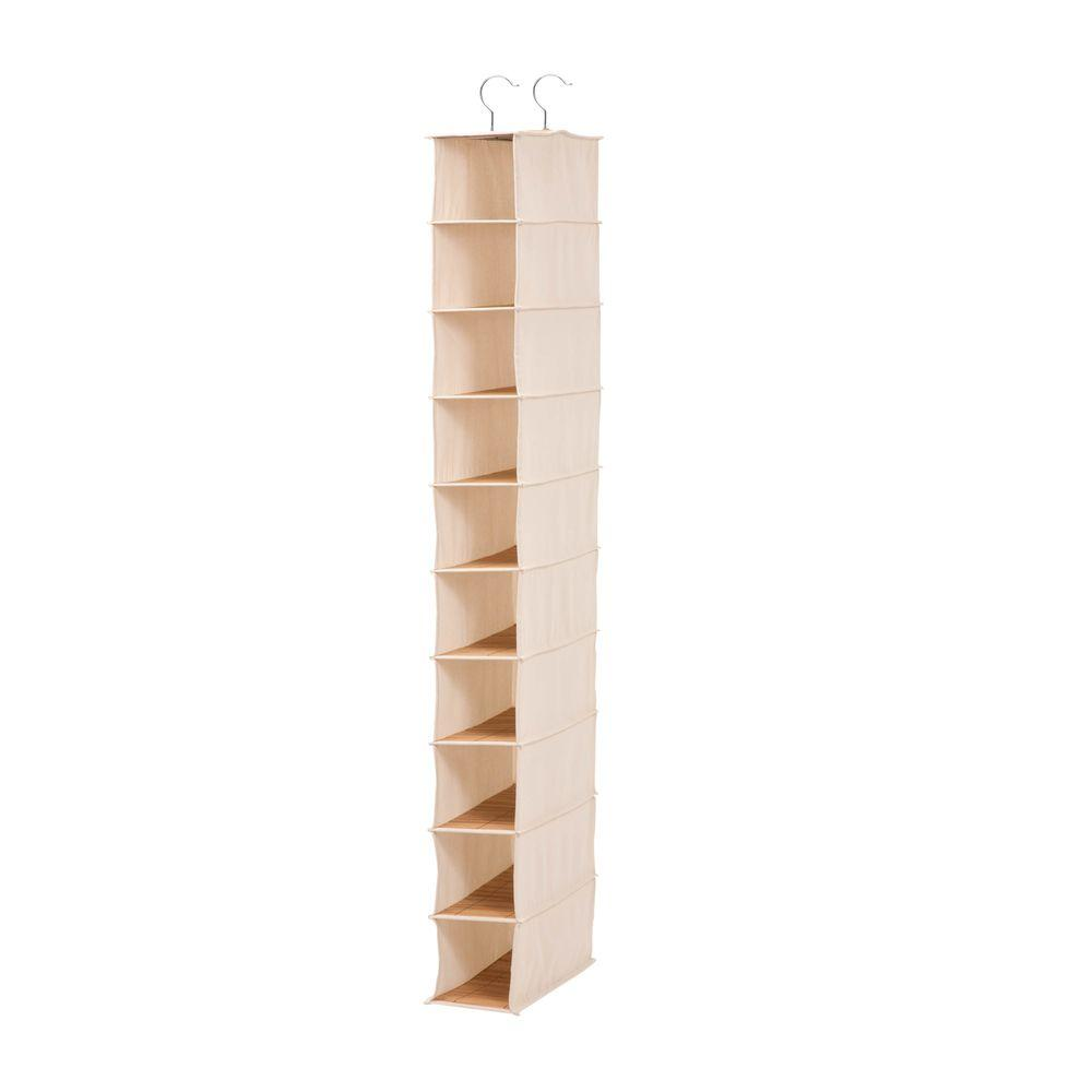 Hanging 10-Pocket Shoe Organizer in Canvas and Bamboo