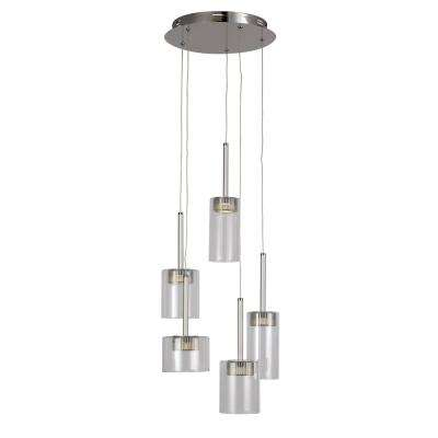 5-Light Polished Chrome LED Pendant with Clear Glass