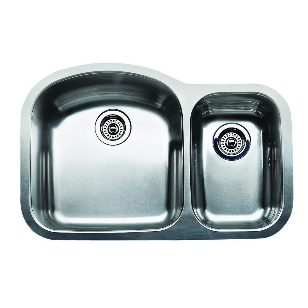 Blanco Wave Plus Undermount 31.5 in. 0 Hole 1-1/2 Basin Kitchen Sink