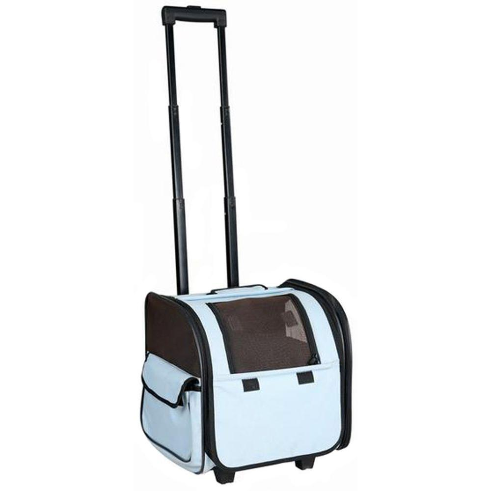 Blue Wheeled Travel Pet Carrier with Side Pouch and Leash Holder