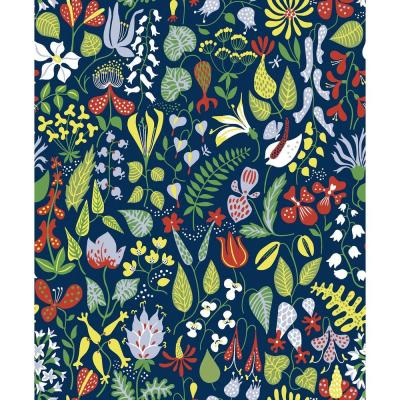Navy Floral Motif Wallpaper