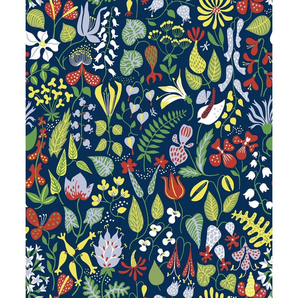 Brewster Navy Floral Motif Wallpaper