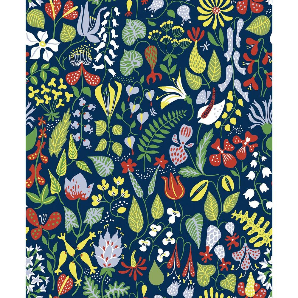 herbarium navy floral motif