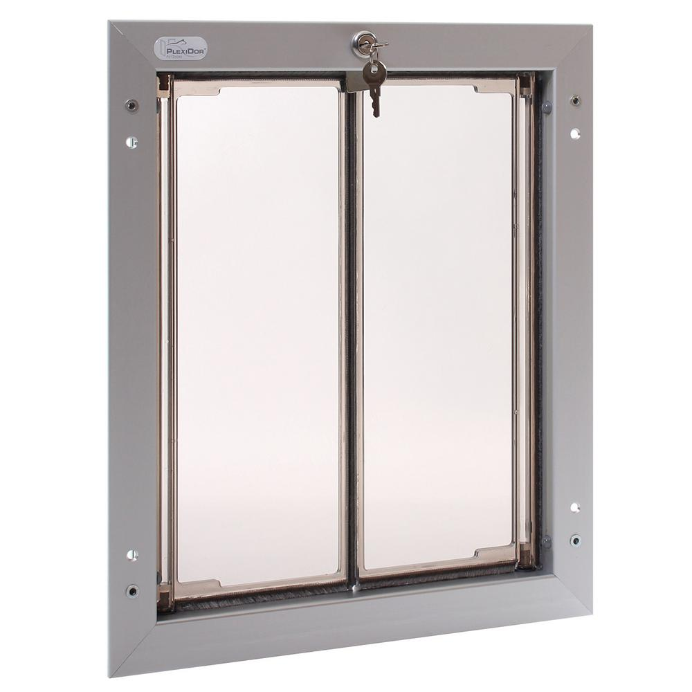 PlexiDor Performance Pet Doors 11-3/4 in. x 16 in. Door Mount Silver Large Dog Door