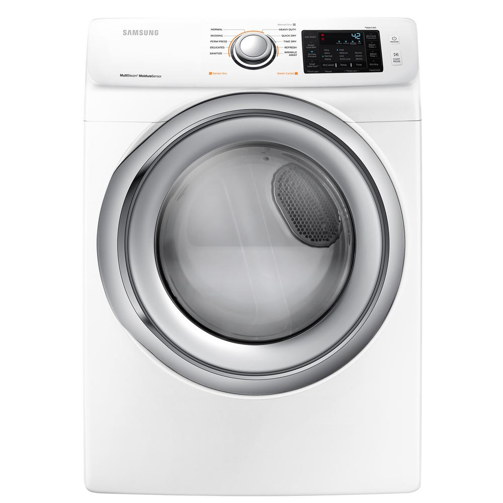 Samsung 7.5 cu. ft. Electric Dryer with Steam in White