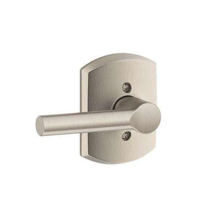 Satin Nickel Broadway Dummy Door Lever with Greenwich Trim