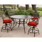 Traditions 5-Piece Aluminum Outdoor Bar Height Dining Set with Red Cushions, Swivel Chairs and a 56 in. Cast-top Table
