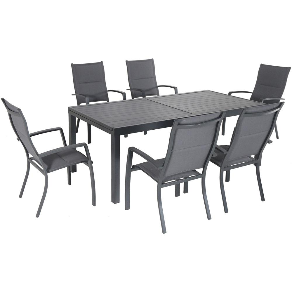 Hanover Naples 7 Piece Aluminum Outdoor Dining Set With 6