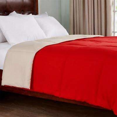 Reversible Red/Tan Twin Lightweight Down Alternative Comforter
