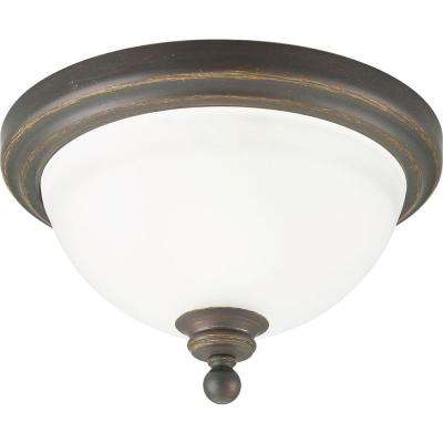 Madison Collection 1-Light Antique Bronze Flush Mount with Etched Glass