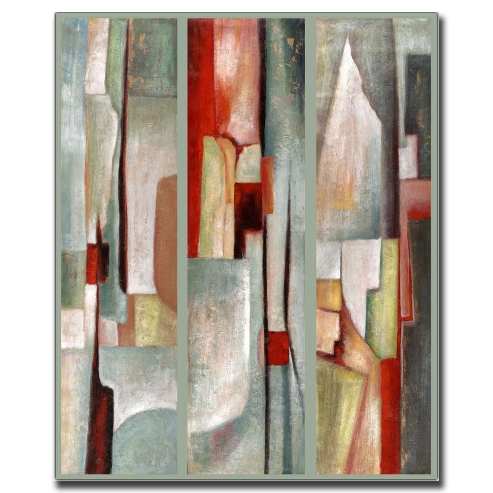 Trademark Fine Art 24 in. x 32 in. Abstract Triptych Canvas Art