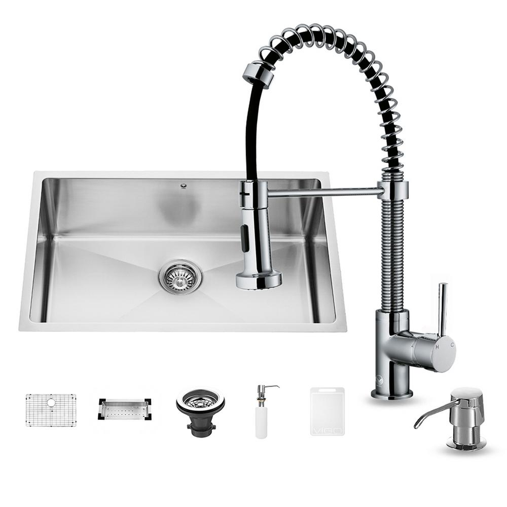 VIGO All In One Undermount Stainless Steel 30 In. 0 Hole Single Bowl  Kitchen Sink And Faucet Set In Chrome VG15054   The Home Depot