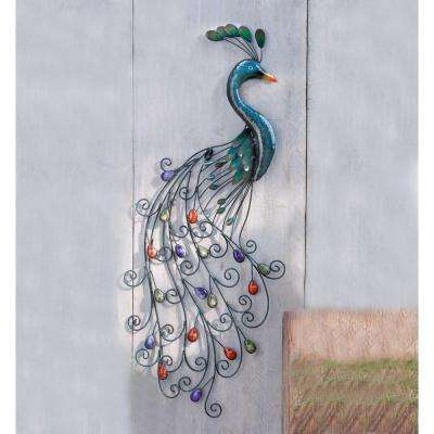 Metal Peacock with Colorful Bejeweled Tail Wall Art