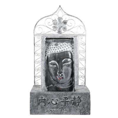 35 in. Tall Metal Buddha Waterfall Fountain with Chinese Characters and Inner Peace
