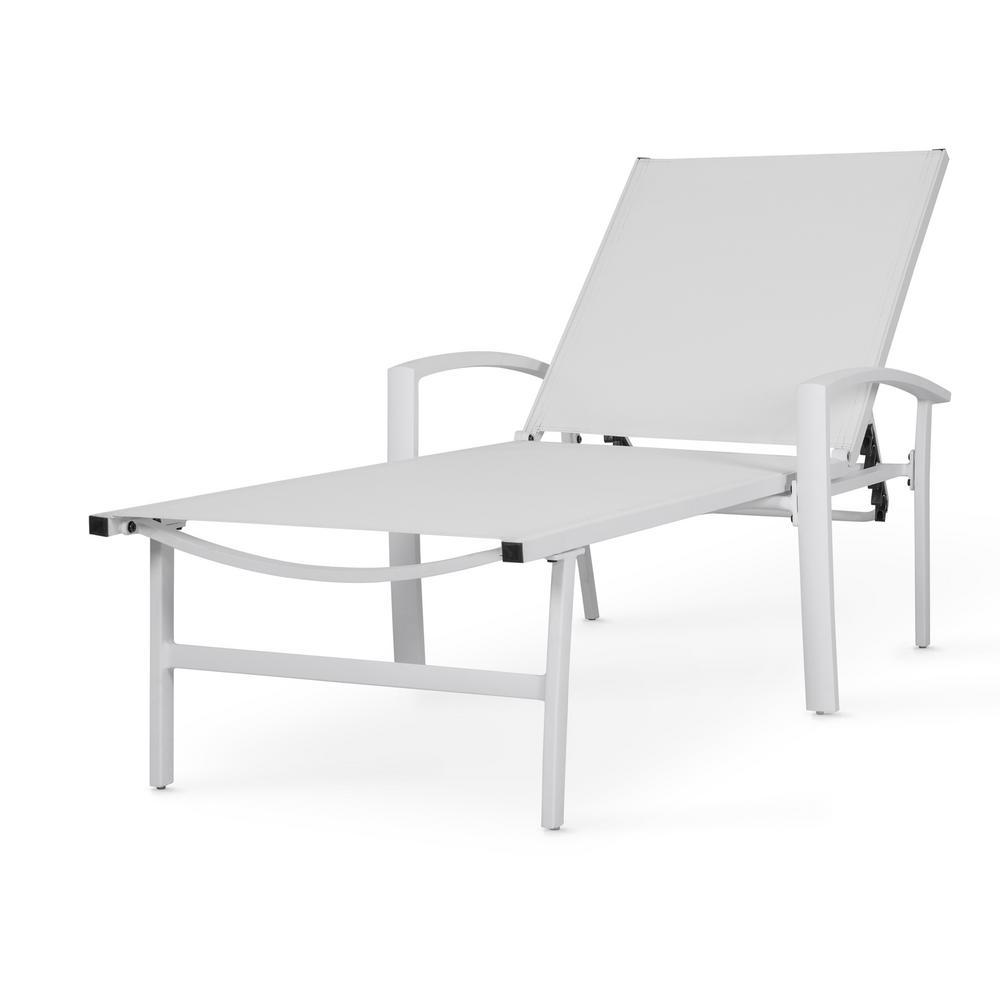 Nuu Garden White 1-Piece Aluminum Outdoor Chaise Lounge
