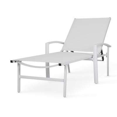 White 1-Piece Aluminum Outdoor Chaise Lounge