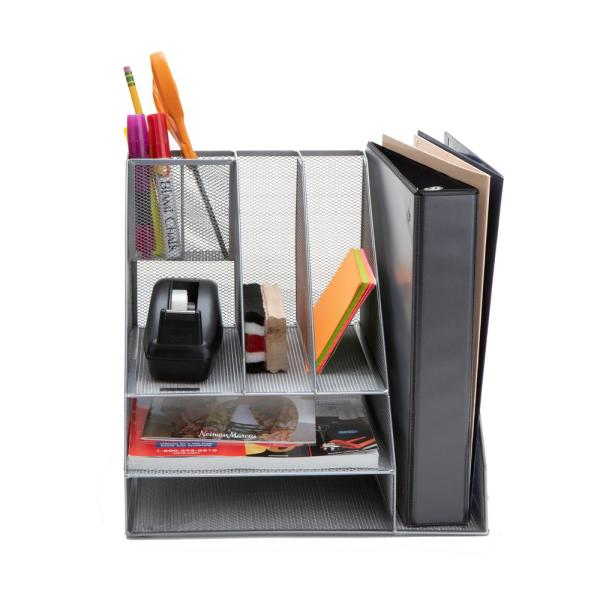Multi-Purpose Durable Storage Tray for Office Supplies and Accessories Easy to Clean Metal Mesh Desk Drawer Office Organizer 6 Compartments