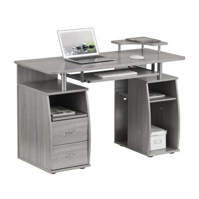 48 in. Rectangular Gray 2 Drawer Computer Desk with Keyboard Tray