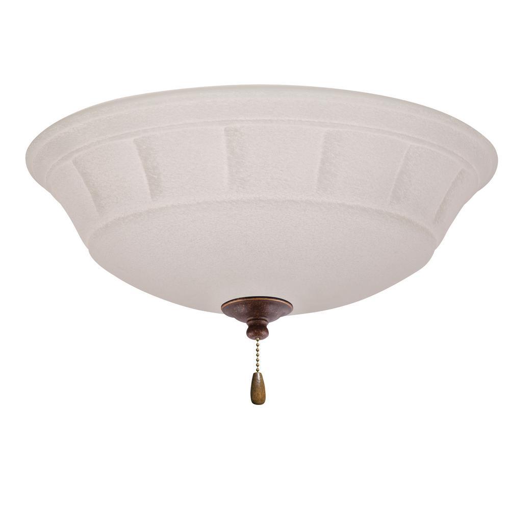 Grande White Mist 3-Light Gilded Bronze Ceiling Fan Light Kit