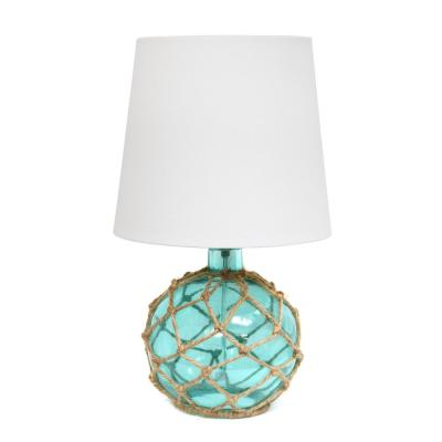 15.25 in. 1-Light Aqua Buoy Rope Nautical Netted Coastal Ocean Sea Glass Table Lamp with White Fabric Shade