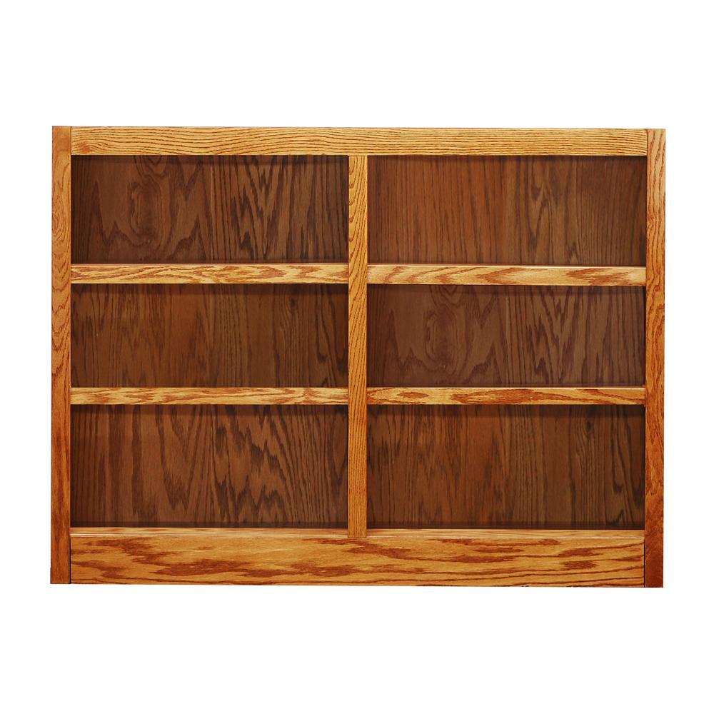 Concepts In Wood Midas Double Wide 6-Shelf Bookcase in Dry Oak